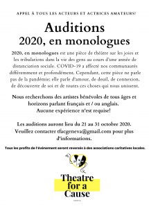 FINAL DAY ! Auditions - 2020 in Monologues